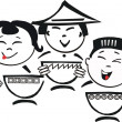 Cartoon of asian eating — Imagens vectoriais em stock