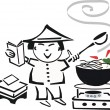 Black and white cartoon of Asian chef cooking food in wok. — Stock Vector