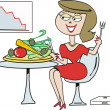 Vector cartoon of woman on diet eating healthy salad. — Stock Vector