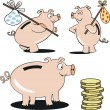 Vector cartoon pigs with coins and savings. — Stock Vector
