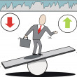Vector cartoon of businessman on seesaw balancing market trends up and down. — Stock Vector