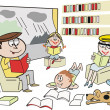 Cartoon showing happy family reading and learning from books indoors with rainy weather outside. — Stock Vector