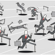 Cartoon of business executives striving to compete in hurdle race. — Stock Vector