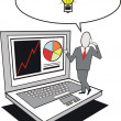 Cartoon of business executive with laptop and inspirational idea. — Stockvectorbeeld