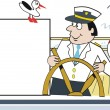 Cartoon of cruise boat captain steering ship's wheel on deck. — Stock Vector
