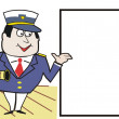 Cartoon of happy captain on board cruise liner — Stock Vector
