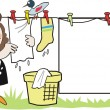 Cartoon of housewife doing domestic tasks hanging up laundry with bird on washing line. — Stock Vector