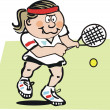 Tennis cartoon showing woman hitting backhand on court — Stockvectorbeeld