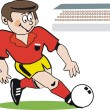 Cartoon of keen soccer player about to kick ball — Stock Vector