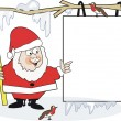 Christmas cartoon of Santa Claus with robins and blank sign. — Stock Vector