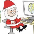 Cartoon of Santa Claus at computer with world globe. — Stockvectorbeeld