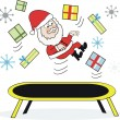 Cartoon of Santa Claus on trampoline with presents and snowflakes. — Stock Vector