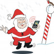 Cartoon of Santa Claus at North pole answering mobile call from reindeer. — Stock Vector