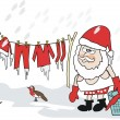 Cartoon of Santa Claus with washing on clothesline in snow and ice. - Stock Vector