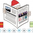 Vector cartoon showing Santa Claus reading newspaper. — Stok Vektör