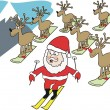 Vector cartoon of Santa Claus on skis with reindeer on snowboards. — Stock Vector