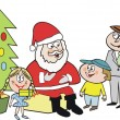 Cartoon of Santa Claus with children, christmas presents and parents. — Stock Vector