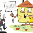 Cartoon of smiling house with sign and happy real estate agent. — Stok Vektör