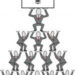 Cartoon of business executives building a pyramid of ideas. — Stock Vector #26907911