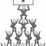 Cartoon of business executives building a pyramid of ideas. — Stock Vector