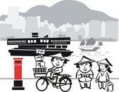 Fumetto illustrazione dell'uomo asiatico, bicicletta. — Vettoriale Stock