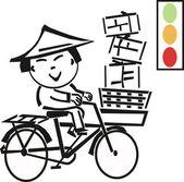 Cartoon illustration of Asian man riding bicycle. — Stock Vector