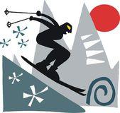 Vector illustration of man skiing — Stock Vector
