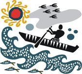 Vector illustration of man in canoe — Cтоковый вектор