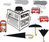 Vector cartoon of man reading newspaper with selection of London buses and umbrellas. — Stock Vector