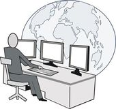 Cartoon of business executive at desk with computer monitors and world globe in background. — Stock Vector