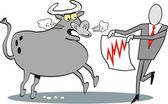 Cartoon of business executive fighting with angry bull. — Stock Vector