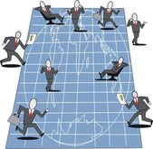 Cartoon of business executives planning on large blueprint of world map. — Stock Vector