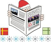 Vector cartoon showing Santa Claus reading newspaper. — Stock Vector