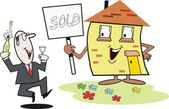 Cartoon of smiling house with sign and happy real estate agent. — Stock Vector