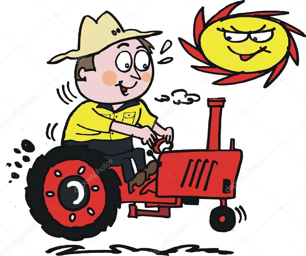 Cartone animato di vettore del contadino sul trattore nel