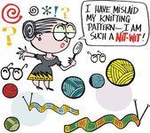 Vector cartoon of grandmother knitting — Stock Vector