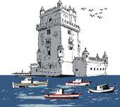 Vector illustration of old fort, Lisbon, Portugal. — Stock Vector