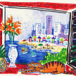 Fine art illustration of coastal resort scene from balcony with stylized cat. — Zdjęcie stockowe