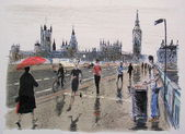 Illustration of London pedestrians in rain on Westminster Bridge. — Stock Photo