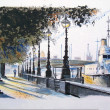 Illustration of man walking on Embankment, river Thames, London England. — Stock Photo #30078845