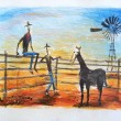 Illustration of two cowboys sitting on fence and talking — Stock Photo
