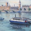 Illustration of ships, river Thames, London England. — Stock Photo