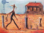 Illustration of cowhand walking along fence line on outback farm. — Stock Photo