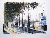 说明了堤防,泰晤士河畔,英国伦敦上行走的人. — 图库照片