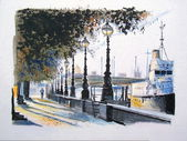 Illustration of man walking on Embankment, river Thames, London England. — Photo