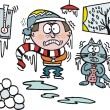 Vector cartoon cat and owner freezing at home, icicles — Imagens vectoriais em stock