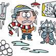 Vector cartoon cat and owner freezing at home, icicles — Imagen vectorial