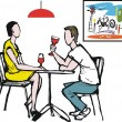 Vector cartoon of man and woman having romantic dinner — Stok Vektör