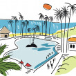 Illustration of hotel pool — Stock Vector