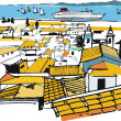 Vector illustration of buildings in Alfama district — Imagen vectorial